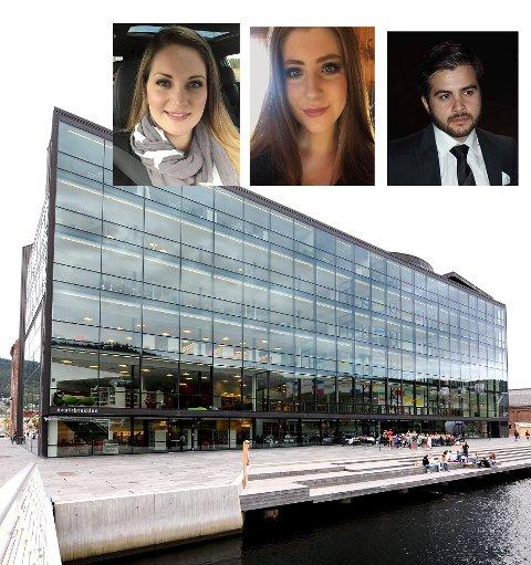 NYE STUDENTER: Silje Marie Temtemoen Garcia (f.v), Celine Weberg og Seid Zadeh fikk studieplass på sykepleierstudiet i Drammen på Høgskolen i Sørøst-Norge. Det var 2.666 søkere som kjempet om 180 studieplasser.