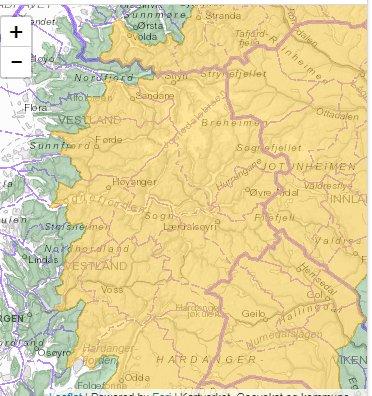 SKREDVARSEL: Heile det gule området på kartet er i faresona.