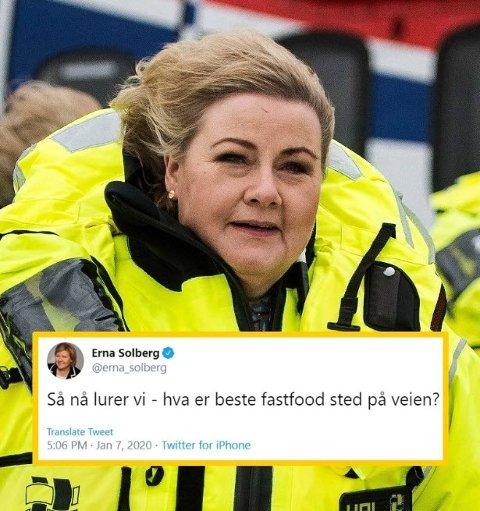 Tweeten som fikk det til å ta fyr i Erna Solbergs politiske motstandere tirsdag kveld.