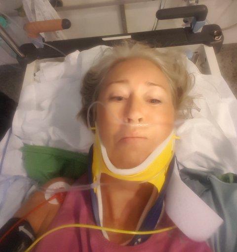 ENDTE PÅ SYKEHUS: Hege Aagaard-Nilsen ble påkjørt av en elsyklist søndag og var heldig som slapp unna med tre ribbeinsbrudd.