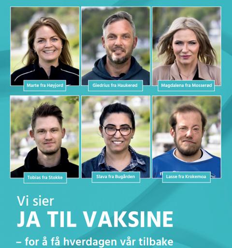 VAKSINEPLAKAT: Slik ser én av plakatene ut. Disse kan du få øye på i byen. PLAKAT: Sandefjord kommune