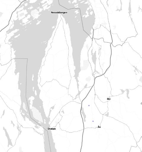 På dette bildet ser du to blå prikker. Det viser hvor to lynnedslag ble registrer for kort tid siden.