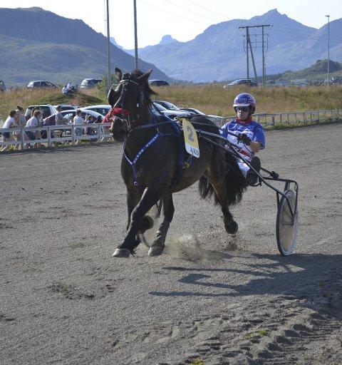 SEIER: Lauvås Brage og kusk Stian Pettersen  vant sikkert i Harstad. Her fra et løp på Lofoten Travpark. Foto: Per Steinar Tangen