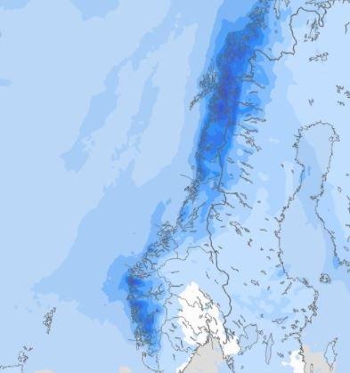 Det skal bli nedbør over nesten hele landet de kommende dagene.