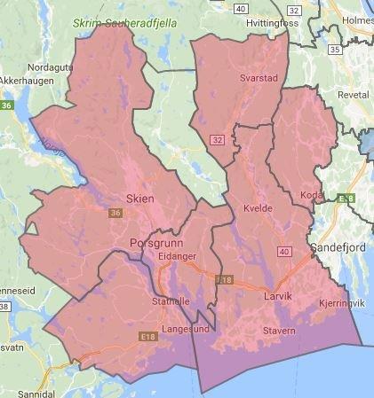 STRØMTRØBBEL: Her er kartet som viser i hvilke områder hvor det er problemer med strømmen. KART: Skagerak Energi