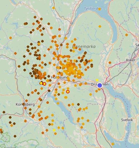 LYNER OVERALT: Dette bildet er hentet fra lightningmaps.com og viser aktiviteten med lyn over distriktet. Skjermbildet er tatt kl. 15.39.
