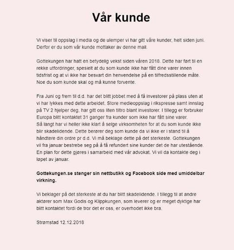 LEGGER NED: Denne e-posten ble sendt ut til gottekungen.se sine norske kunder, tirsdag 12. desember. Foto: Geir Stadheim Totland/Nettavisen (Faksimile/Gottekungen.se)