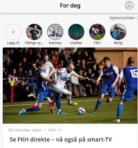BLIR MER PERSONLIG: NÅ kan du få en personalisert nyhetsstrøm i appen til Haugesunds Avis.