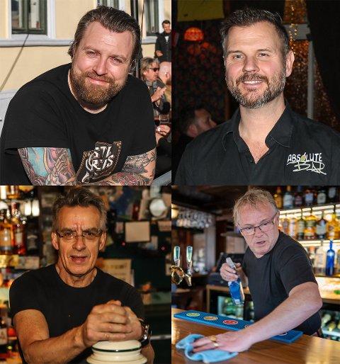 SKJENKESTOPP: Carl-Emil Molin (øverst t.v.), René Huseby, Tom Jørgensen (nederst t.v.) og Per Sandberg får ikke lov til å selge alkohol i pubene og barene sine.