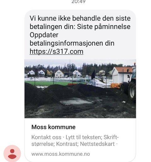 FALSK: Slik ser sms'en ut. Det er ikke Moss kommune som er avsender, selvom det kan se slik ut.