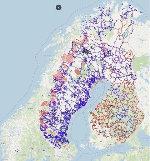 STOR FORSKJELL: De blå strekene markerer etablerte skuterløyper i de respektive land. Sverige og Finland har betydelig flere enn Norge.