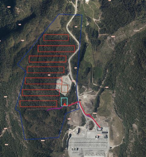 KARTET: I kartet nedenfor er trafostasjonen markert med en turkis firkant og jordkabelen mellom trafostasjonen og Agder energi sitt anlegg markert med rød stiplet linje. De røde rektanglene illustrerer en mulig løsning for datasenterbygg. De inngår ikke i søknaden om nettilknytning.