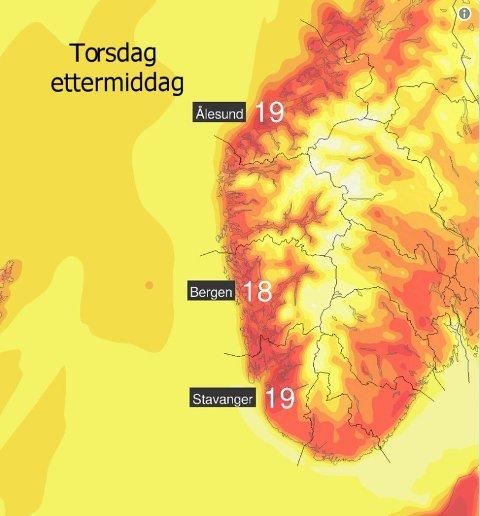 VARMT: Torsdag blir ein varm dag! Men den ser også ut til at det kan bli overskya...
