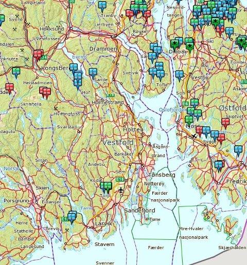 Utsnitt av kartet til www.iskart.no