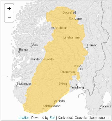 Det er sendt ut gult farevarsel for styrtregn over store deler av Sør-Norge.