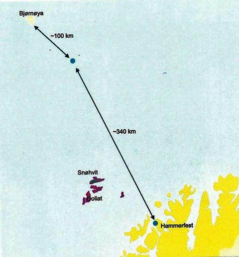 MOT NORD: Prospektet Gråspett liigger 340 kilomter nordvest av Hammerfest og 100 kilometer fra Bjørnøya.