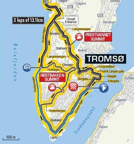 SYKKELLØYPE: Denne runden på Tromsøya skal kjøres tre ganger underinnspurten av Arctic Race of Norway. Både Langnesvegen, Kirkegårdsbakken, Strandvegen og Holtvegen er blant vegene som får asfaltering i sommer.