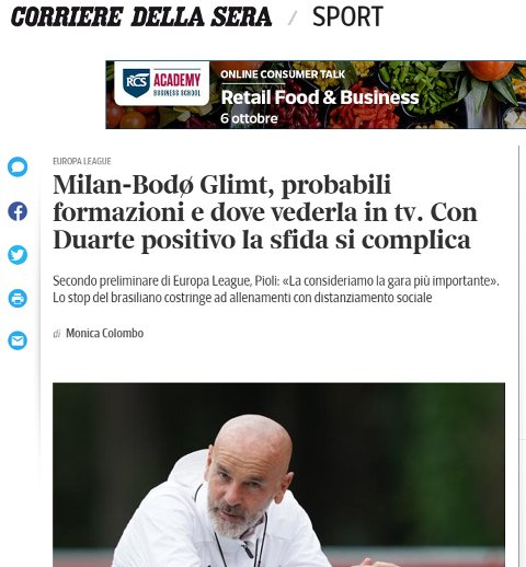 Faksimile fra Corriere della Sera, en av Italias eldste aviser, torsdag formiddag.
