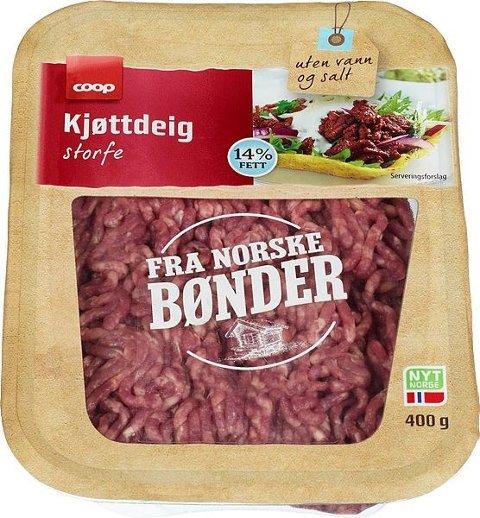 Coop har valgt å kalle tilbake kjøtt- og karbonadedeig av merket Coop som er produsert av Fatland Ølen, etter at en rutinekontroll har avdekket mistanke om salmonella. Foto: COOP / NTB scanpix