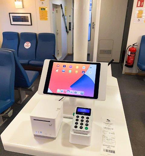 BILLETT: Her er Sundbåtvesenets nye system for betaling av billett på Sundbåten.
