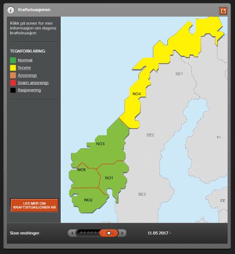 STRAM STRØMSITUASJON: Den seine våren medfører til at Statnett har innført kode gul i Nord-Norge. Det betyr at det er liten strømproduksjon i nord, og man stopper dermed at planlagt utkobling og vedlikehold av nettet i Nord-Norge.