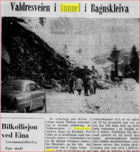 Starten: Artikkel i Oppland Arbeiderblad 1958 om starten på arbeidet med den vesle tunnelen, som til slutt vart 40 meter lang.
