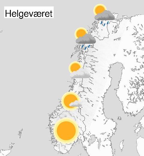 Her er en grov oversikt over helgeværet i Norge! Fortsatt fint vær i sør, mens regnbygene holder stand i nord.