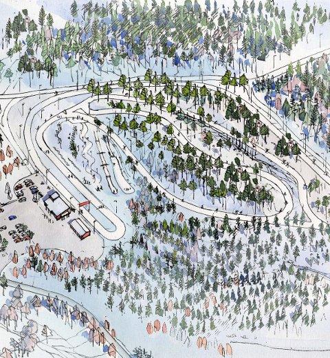 Skiby med kunstsnø: Per Stenseth presenterte skiklubbens planer for et skianlegg i Brønnerødskogen i gårsdagens kronikk i FB. Illustrasjon: Ole A. Krogness/perspektiver.no for sg Arkitekter AS