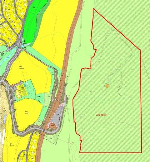 FORSLAGET: Området innenfor den røde linjen er i dag omfattet av markaloven, men nå ser det ut til at departementet etter mange år tar lokale ønsker til følge.