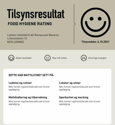 FEIL PLASS: Mattilsynet påpekte at smilefjesrapporten ikke hang på rett plass.