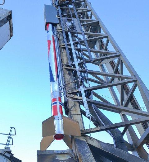 KLAR: Nammos romrakett «Nucleus» er klar til oppskyting.