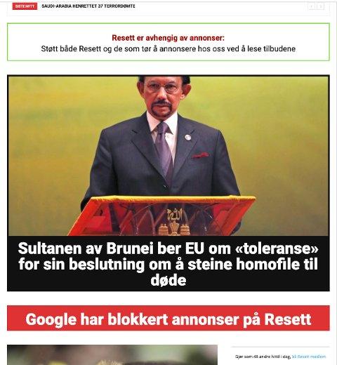 Flere store annonsører svartelister nettstedet Resett.no etter Twitter-kampanje. Skjermbilde av nettstedet tirsdag ettermiddag.