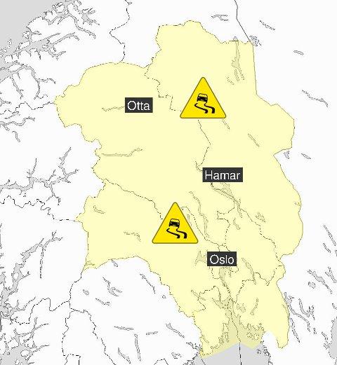 FAREVARSEL: Glatte veier og vanskelige kjøreforhold over hele Østlandet torsdag.