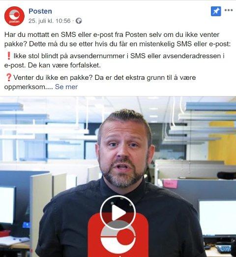 Haugesunderen André Berning ved Posten i Haugesund frontet Posten Norges informasjonsvideo, hvor det advares mot svindelforsøk.