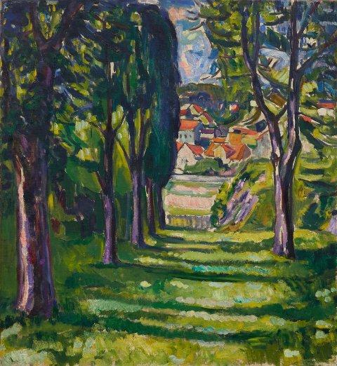 Maleriet som ble solgt i USA onsdag har motiv fra Edvard Munch hage på Skrubben, med utsikt mot Smedsbukta.