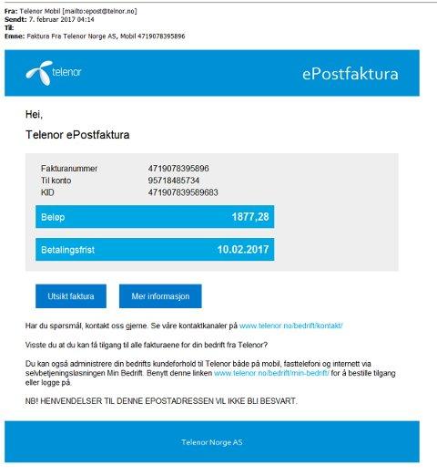Mange har mottatt denne eposten tirsdag. Det er en såkalt phishing-mail og kommer ikke fra Telenor, noe selskapet selv varsler om. Foto: Skjermbilde / NTB scanpix