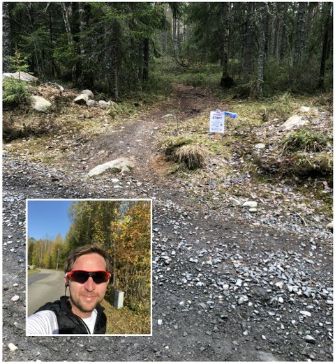 """JOMFRUELIG START: Askild Bø (innfelt) har laget første etappe i den nye Stjernecupen har fått navnet """"Jomfruen,"""" og strekker seg over 1,7 kilometer på sti.  Fire andre løpeentusiaster skal presentere hvert sitt nye segment de kommende ukene."""