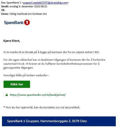 SVINDEL: Har du fått en slik e-post i det siste? Da er det svindel. Nå advarer banken om høy svindelaktivitet.
