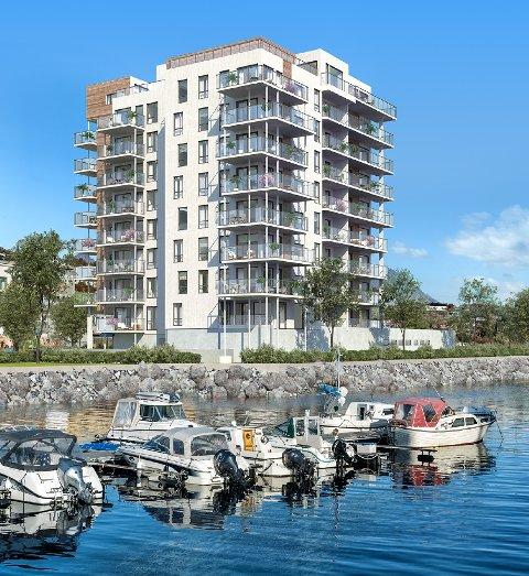 På Holstneset i Harstad har det tidligere blant annet vært drevet fiskeindustri. Arkitekt er Jim Myrstad AS.