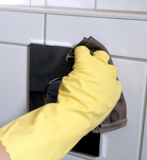 Betjeningsplaten over toalettet og andre steder der du tar med hendene er viktig å vaske.