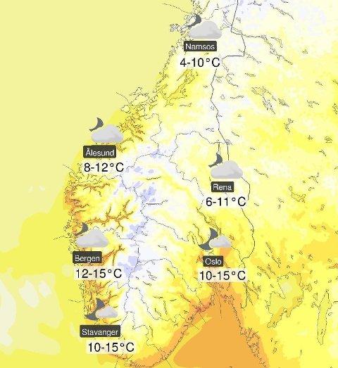 Slik er temperaturprognosene for Sør-Norge natt til 17. mai. Foto: (Meteorologisk institutt)
