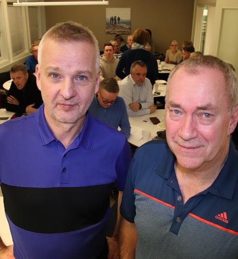 Styreleder Jens Kristian Hansen i Salten Golfklubb og daglig leder Sigve Bollestad.
