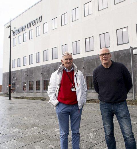 Da det forrige byrådet måtte kaste inn håndkleet og innrømme at de ikke kunne ta seg råd til å bygge arenadrømmen, bladde Trond Mohn opp.  Her er Mohn sammen med Roald Bruun-Hanssen, som er sjef for anlegget.
