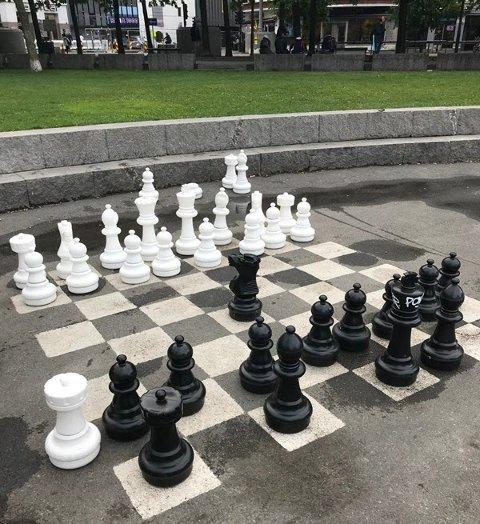 Sjakkspill i brostenene, er ett av tiltakene Venstre vil få på plass på «nye Dampskipsbrygga».