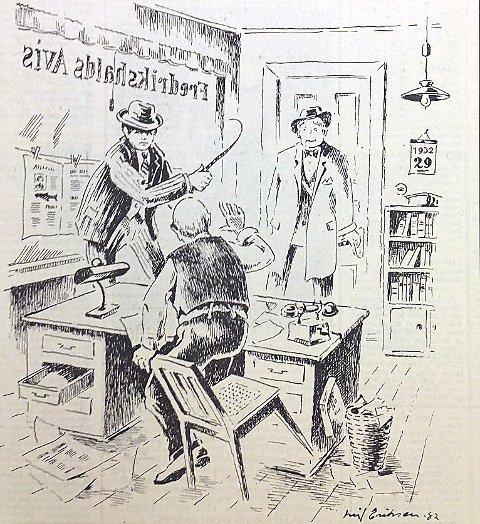 OPPGJØRET: Slik har Leif Eriksen illustrert opptrinnet da Tor Andersen ga redaktør Karl A.D. Lund pryl for alle nedsettende artikler om sin far Arnt Andersen. I bakgrunnen Harald Haraldssøn som Andersen hadde med seg som vitne.