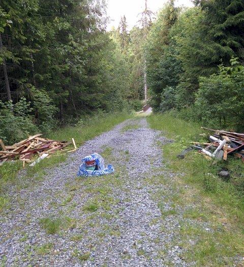 Miljøforurensning: Et malingsspann og rivningsmaterialer hører ikke hjemme ute i naturen. foto: PRIVAT