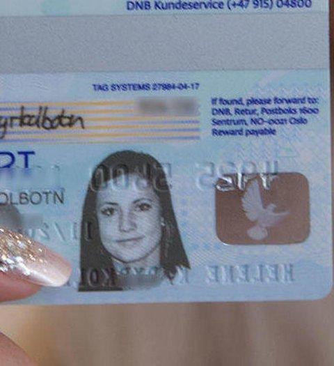 SPERRET: Dette kortet, med et gammelt bilde av seg selv på, fikk Helene tatt ut 25.000 kroner med - uten pinkode. Foto: Magnus Blaker/Nettavisen