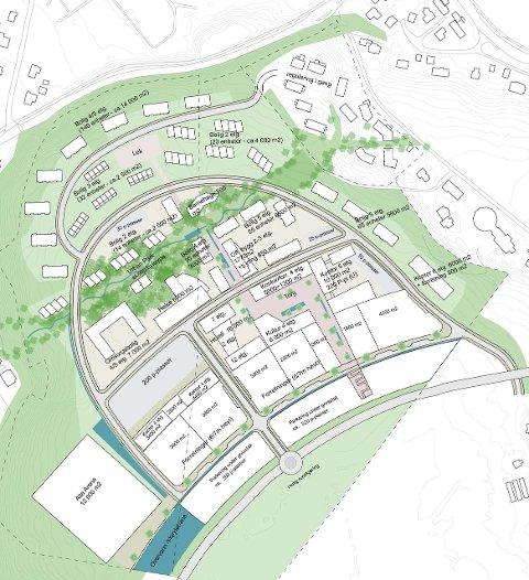 SKISSE: Storbutikker, boenheter og parkområde er planlagt.