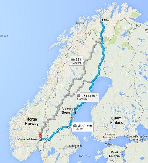 LAAAANGT: Fra Alta til Gardermoen er det litt over 1.700 kilometer. Ifølge Statens vegvesen får føreren av lastebilen kun godskrevet to timer og ni minutters hvile på veien. FAKSIMILE: GOOGLE MAPS