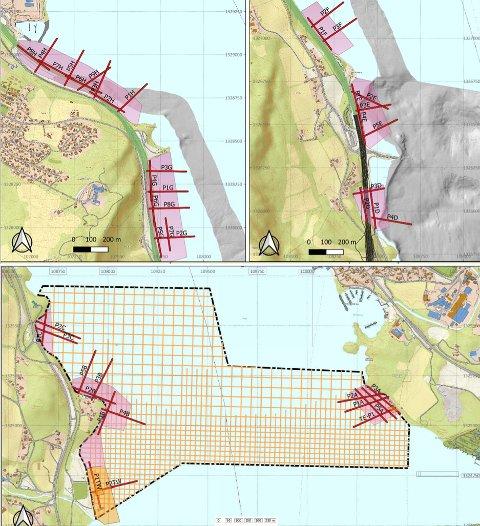 FLERE UNDERSØKELSER: Områdene merket med rosa og gult fra sør for Skulhusodden og nordover skal undersøkes med avansert ekkolodd som måler dybde.